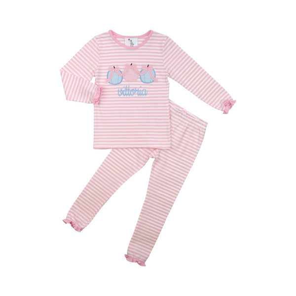 Pink Knit Stripe Pumpkin Pajamas
