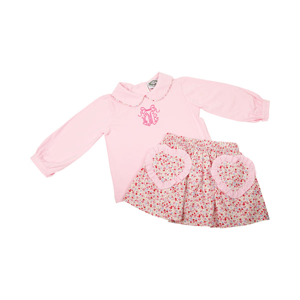 Pink Liberty Heart Pockets Skirt Set