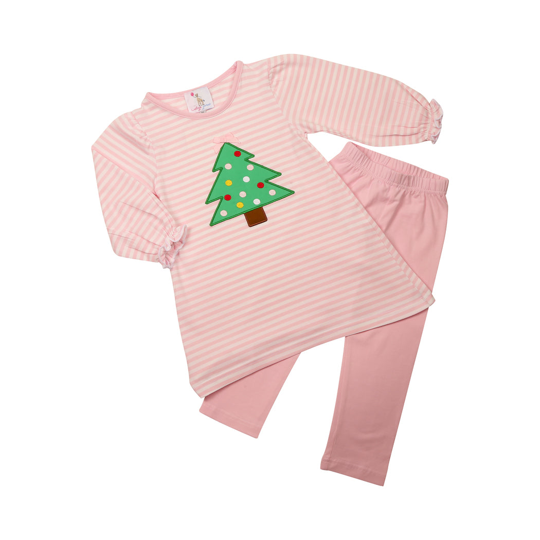 Pink Mini Stripe Applique Christmas Tree Pant Set