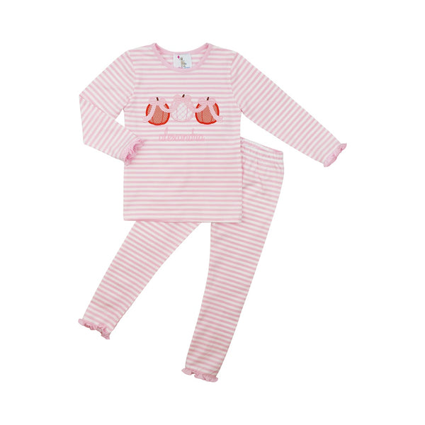 Pink Mini Stripe Applique Pumpkin Pajamas