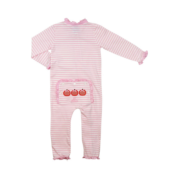 Pink Mini Stripe Applique Pumpkin Zipper Pajamas