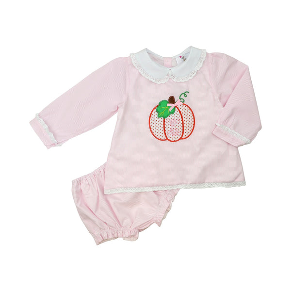 Pink Mini Stripe Pumpkin Diaper Set