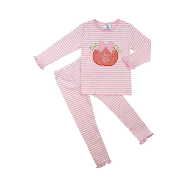 Pink Mini Stripe Pumpkin Pajamas