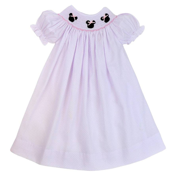 Pink Pique Dot Smocked Mouse Ears Bishop Dress