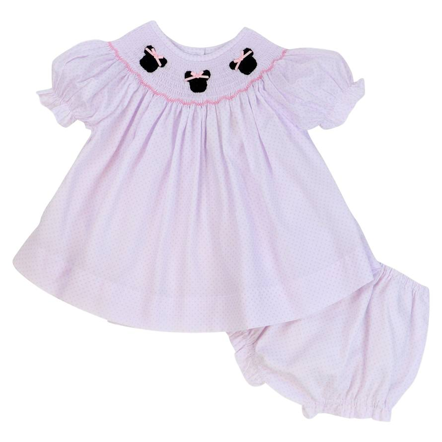 Pink Pique Dot Smocked Mouse Ears Diaper Set
