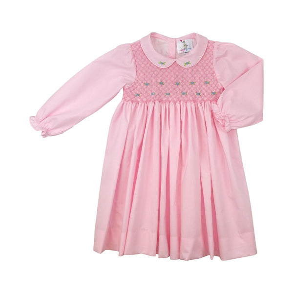 Pink Pique Smocked Rosette Dress