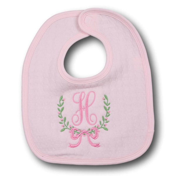 Pink Quilted Bib with Pink and green wreath mono