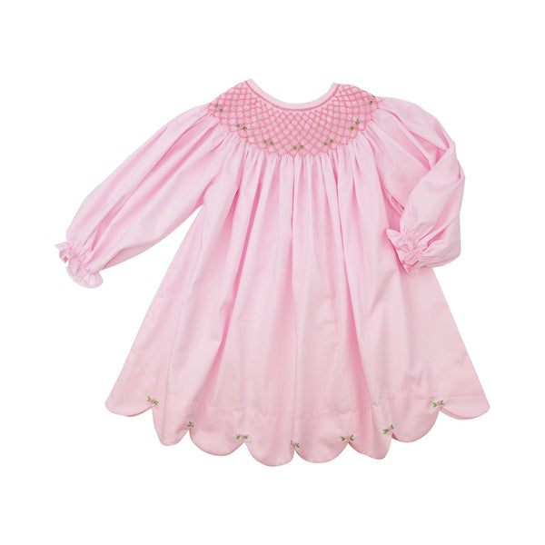 Pink Scalloped Smocked Dress