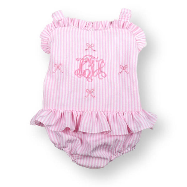 Pink Seersucker Embroidered Bow Swimsuit