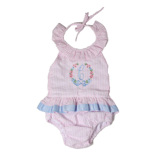 Pink Seersucker Ruffle Swimsuit with Blue Ribbon Trim