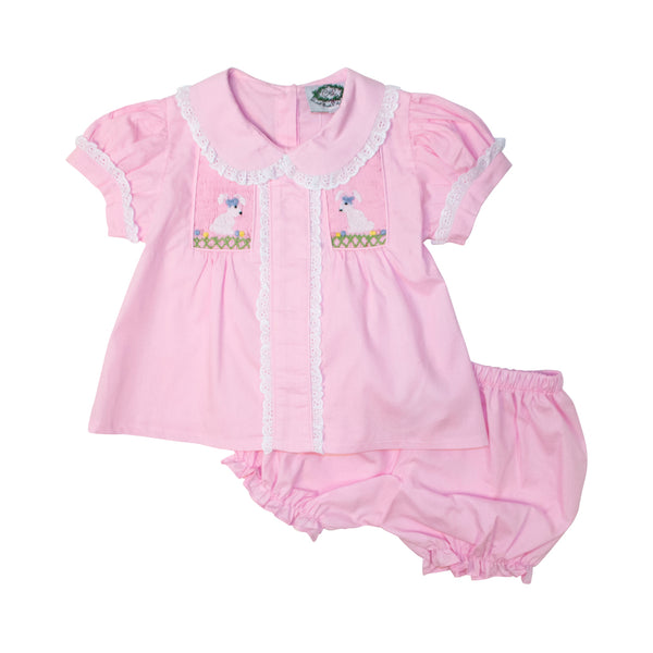 Pink Smocked Bunnies Diaper Set