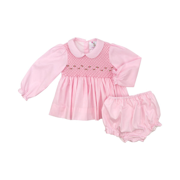 Pink Smocked Diaper Set