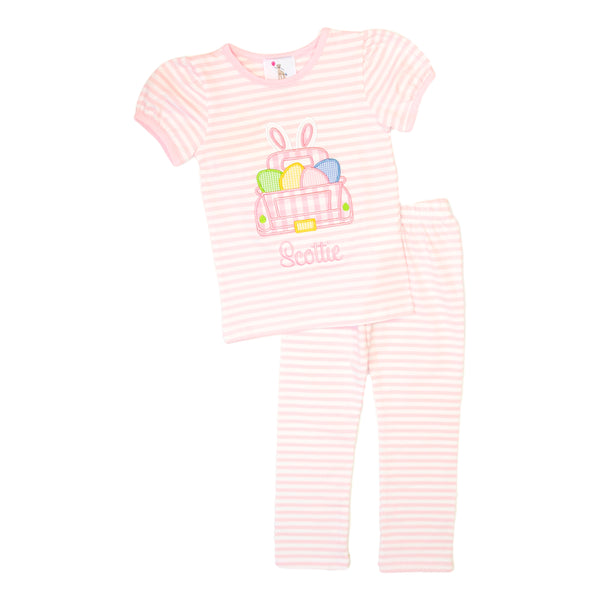 Pink Stripe Applique Truck and Eggs PJ Set