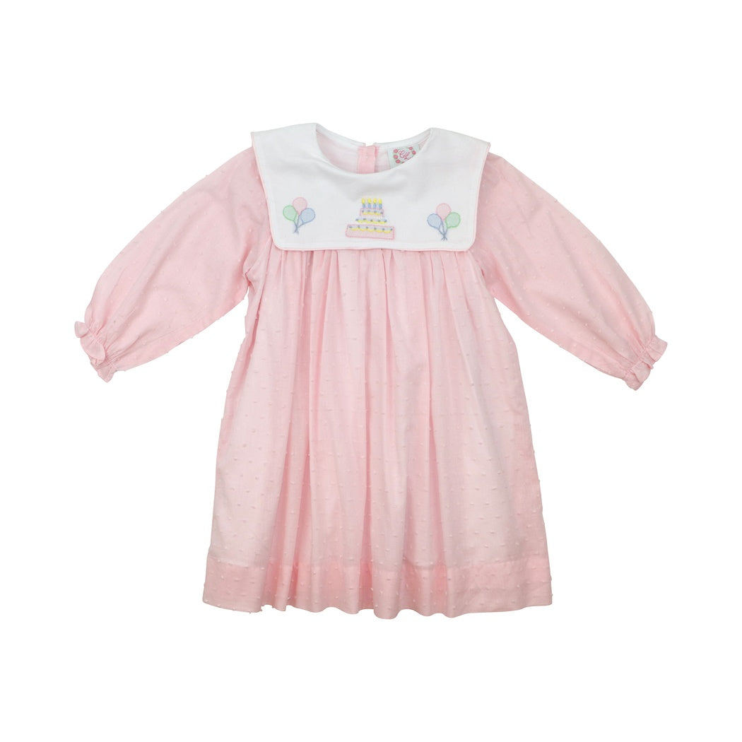 Pink Swiss Dot Shadow Embroidered Birthday Dress