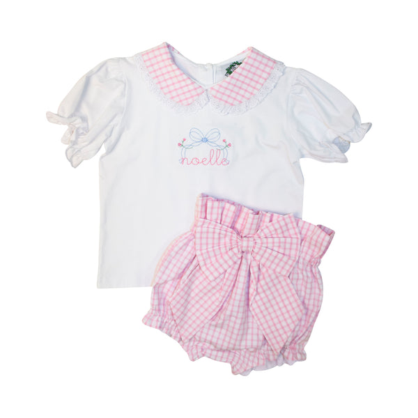 Pink Windowpane Bow Diaper Set