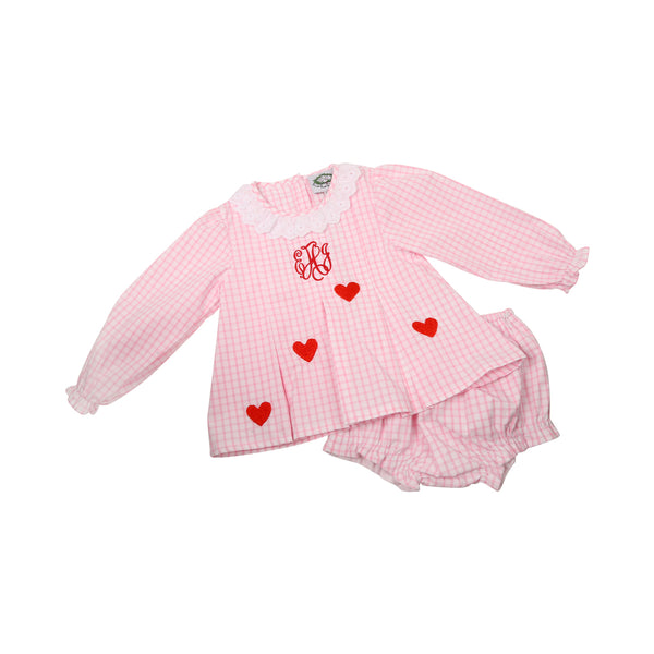 Pink Windowpane Embroidered Heart Pleat Diaper Set