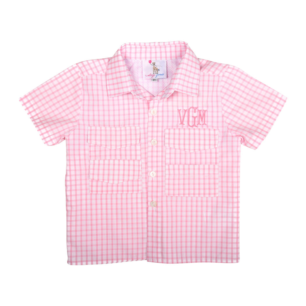 Pink Windowpane Fishing Shirt