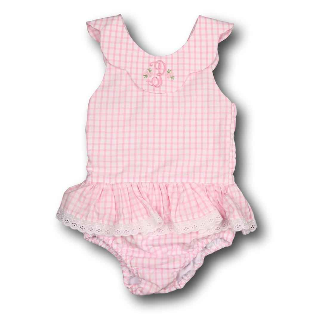 Pink Windowpane Ruffle Swimsuit with Eyelet Trim