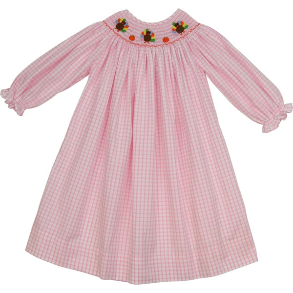 Pink Windowpane Smocked Turkey Bishop Dress