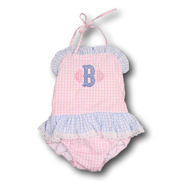 Pink and Blue Windowpane Ruffle Swimsuit