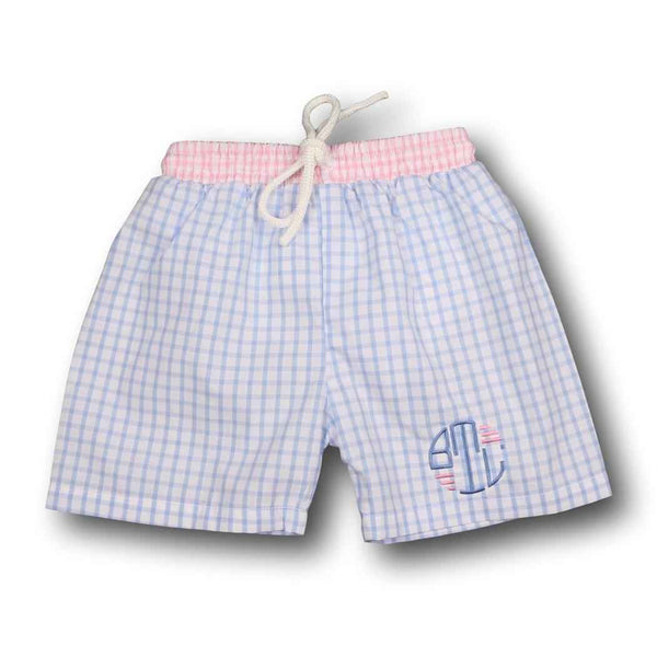 Pink and Blue Windowpane Swim Trunks