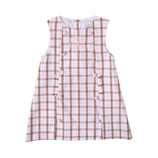 Pink and Brown Check A-Line Dress with Bow in Back