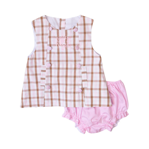 Pink and Brown Check Diaper Set with Bow in Back