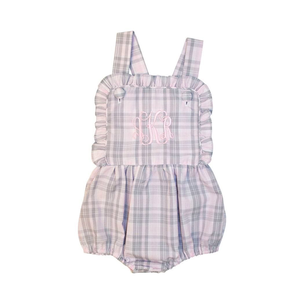 Pink and Grey Plaid Ruffle Bubble