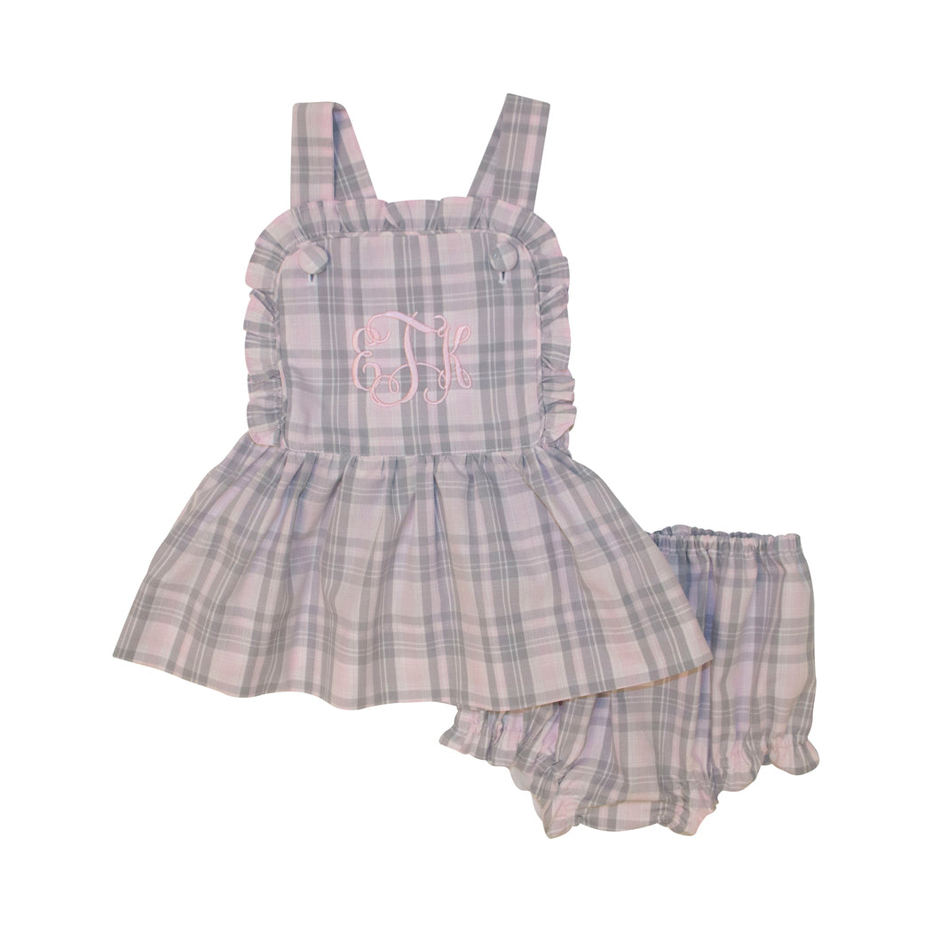 Pink and Grey Plaid Ruffle Diaper Set