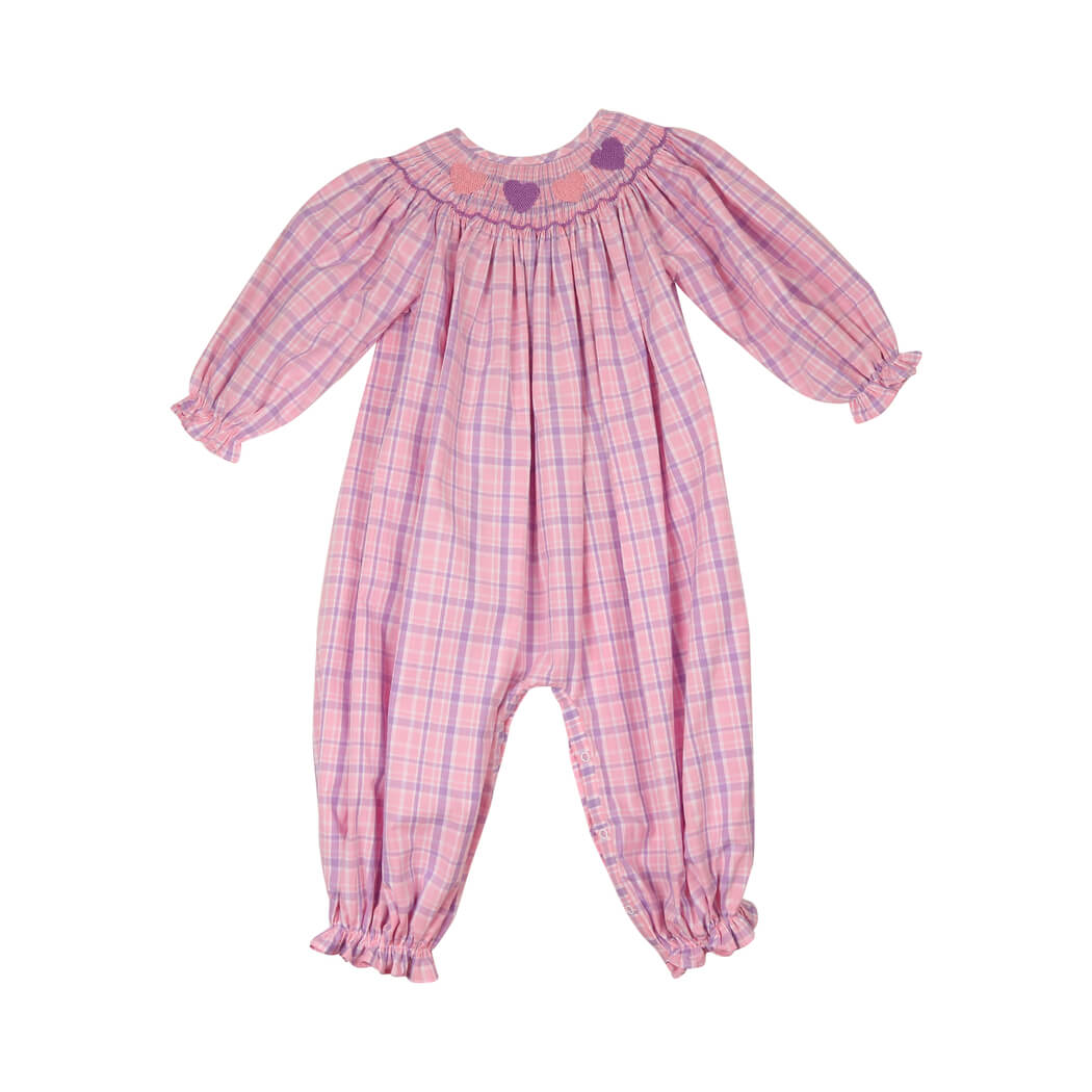 Pink and Lavender Plaid Smocked Heart Long Bubble