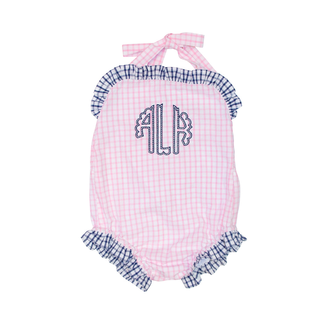 Pink and Navy Windowpane Swimsuit