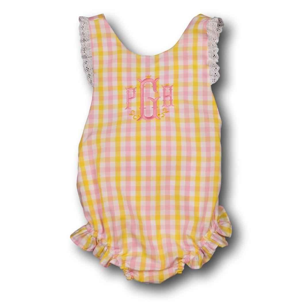 Pink and Yellow Check Ruffle Swimsuit Front