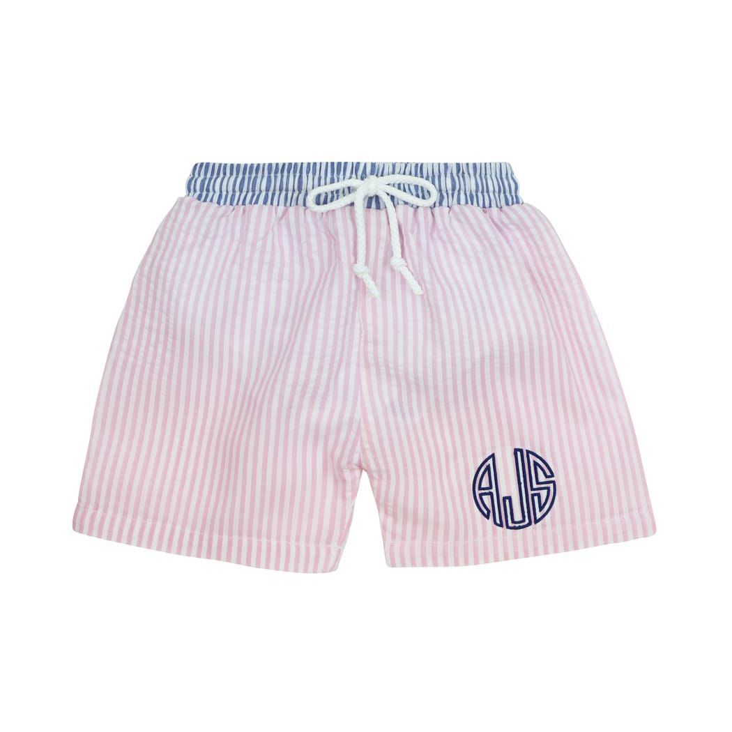 Pink and Navy Seersucker Swim Trunks