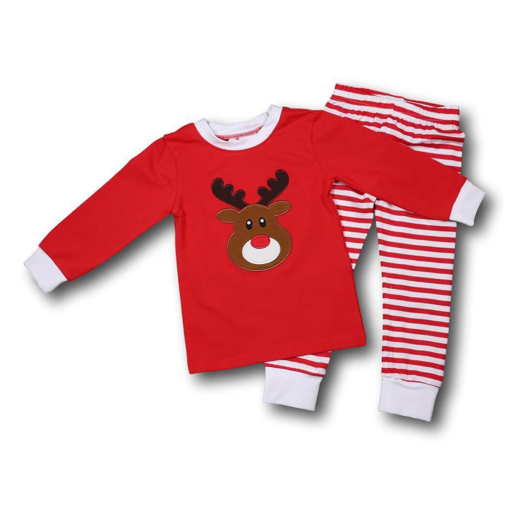Red Stripe Knit Reindeer PJs