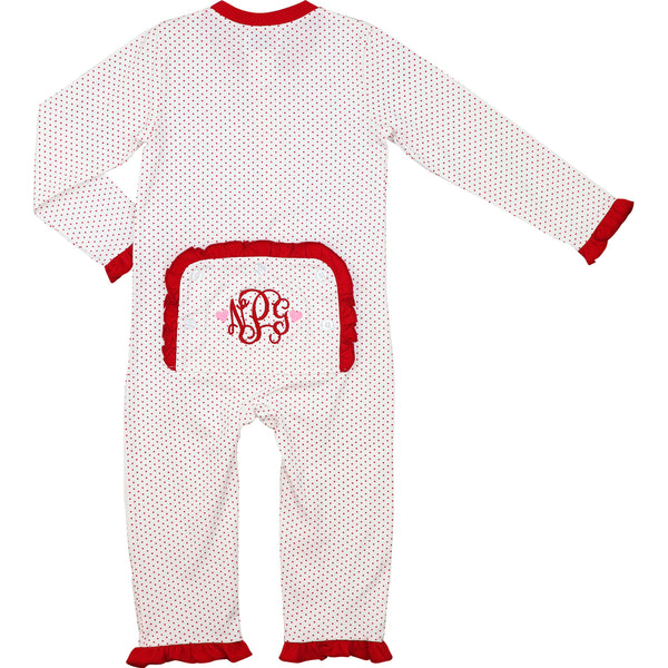 Red Dot Girls Zipper Pajamas