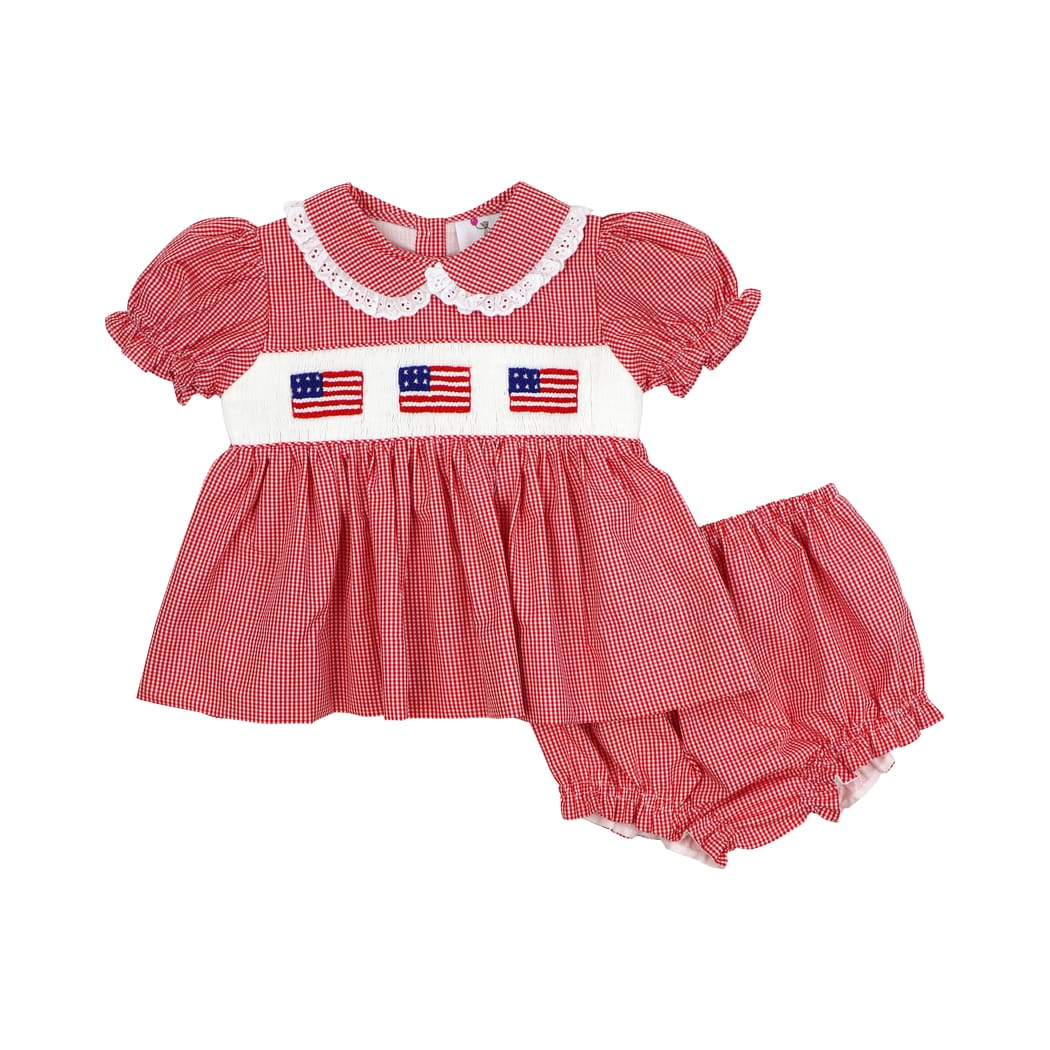 Red Gingham Smocked Flag Diaper Set