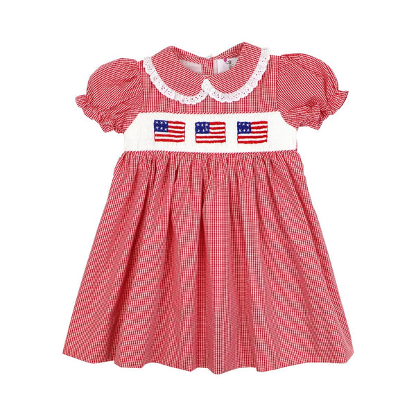 Red Gingham Smocked Flag Dress