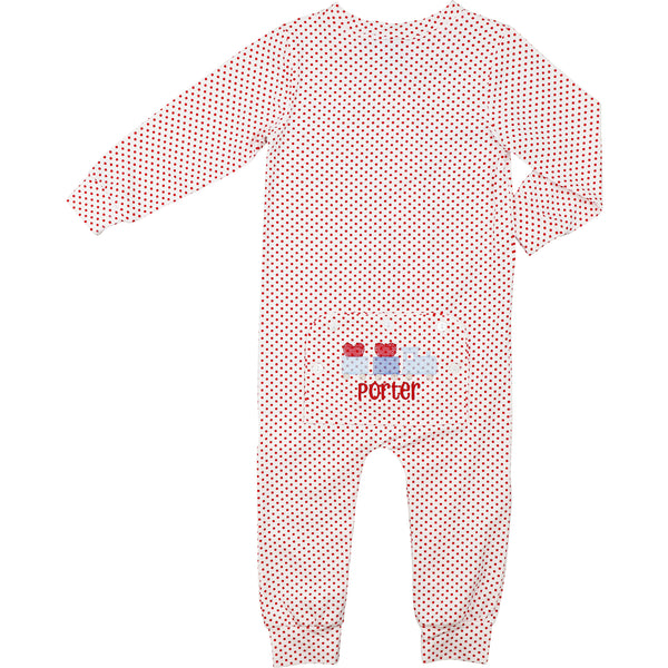 Red Mini Dot Zipper Pajamas