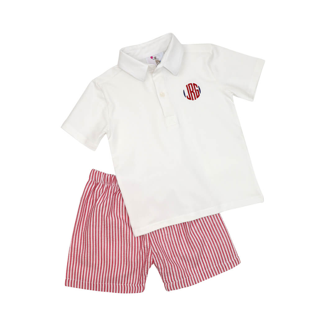 Red Seersucker Polo Set