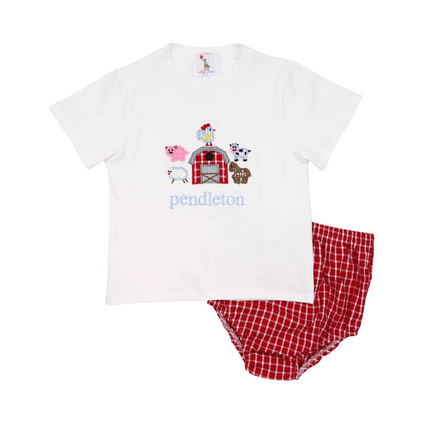 Red Windowpane Applique Farm Diaper Set
