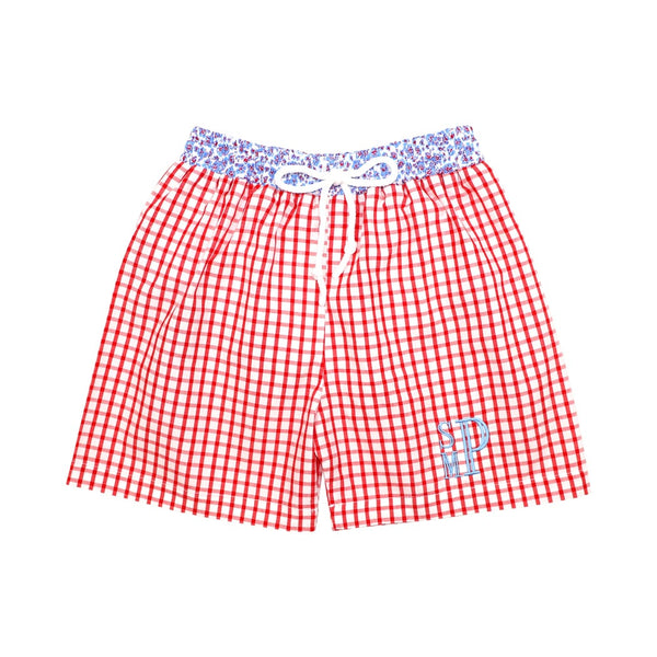 Red Windowpane Liberty Trim Swim Trunks