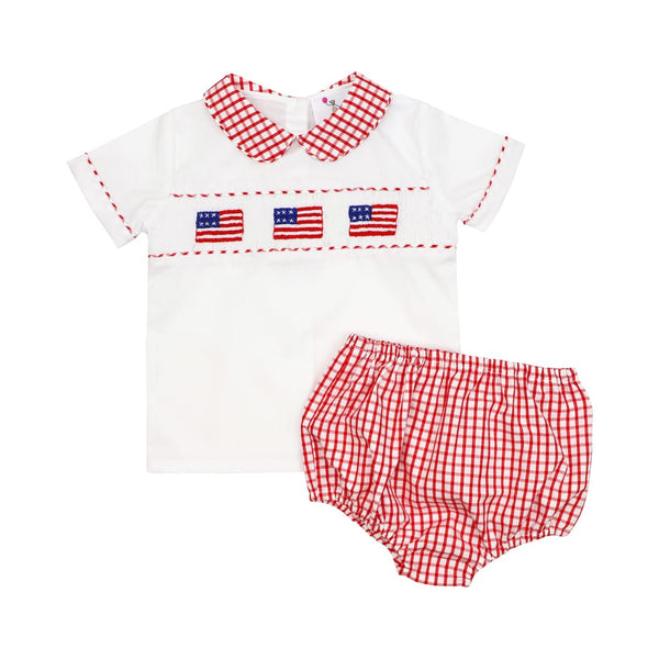 Red Windowpane Smocked Diaper Set