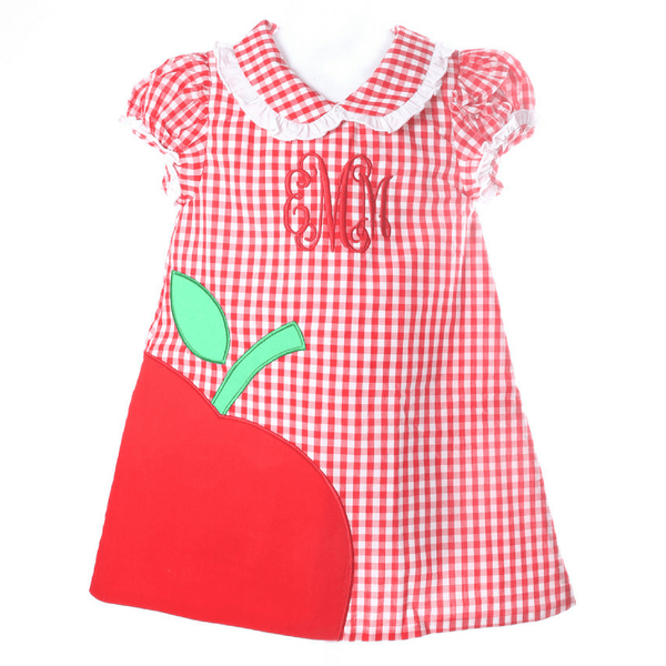 Red Check Applique Apple Aline Dress