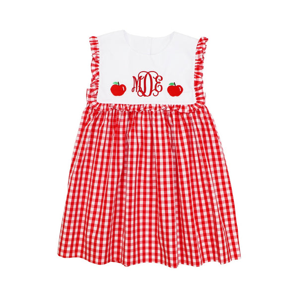 Red Check Embroidered Apple Dress