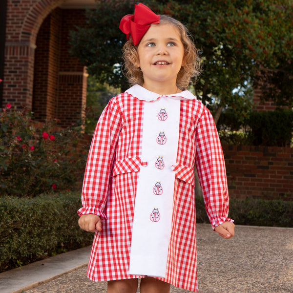 Red Check Embroidered Lady Bug Dress