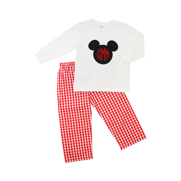 Red Check Mouse Ear Boys Pant Set