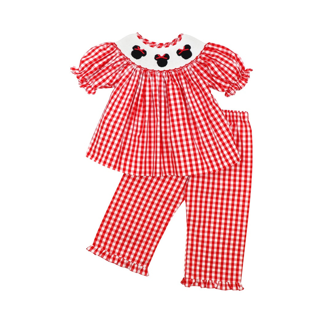 Red Check Smocked Mouse Ear Girls Pant Set