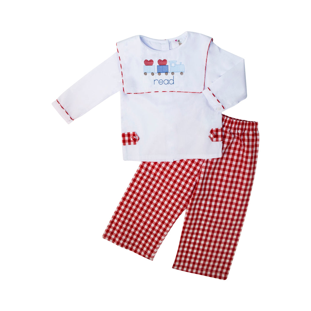 Red Check Square Collar Boys Pant Set