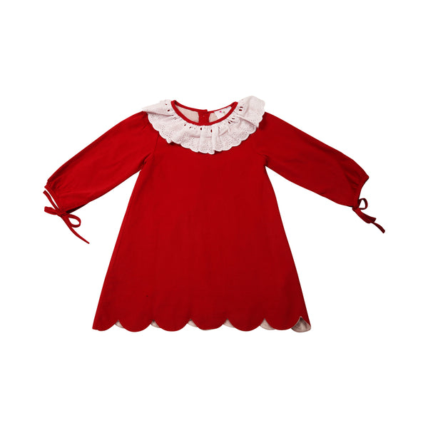 Red Cord Eyelet Dress