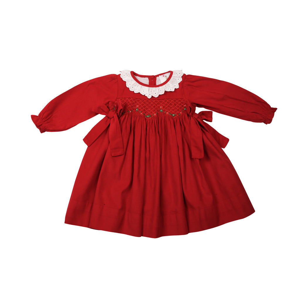 Red Cord Smocked Eyelet Dress